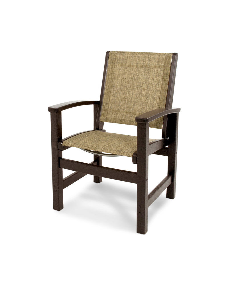 9010-MA912 Coastal Dining Chair in Mahogany with a Burlap Sling