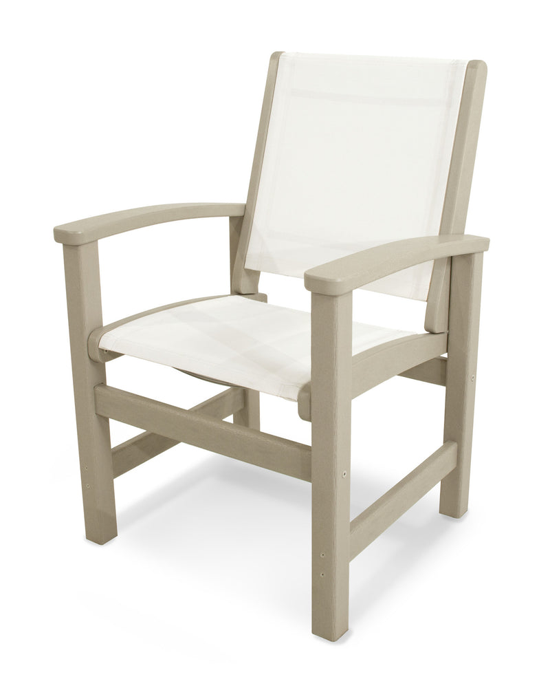 9010-SA901 Coastal Dining Chair in Sand with a White Sling