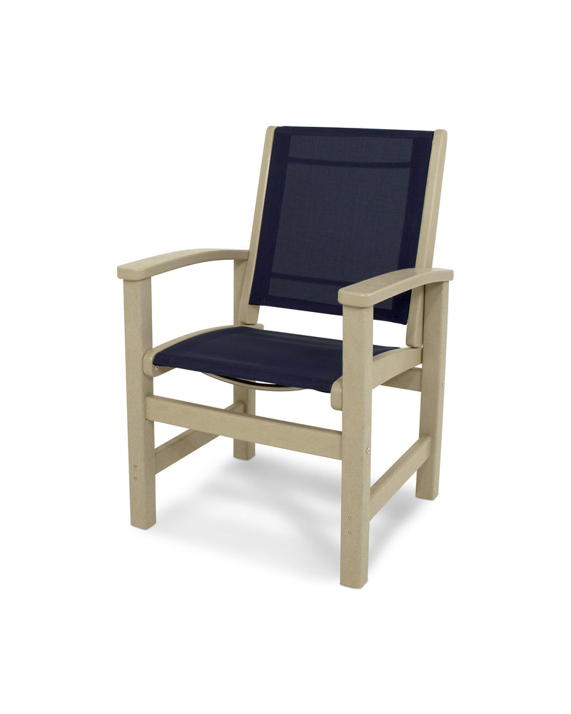 9010-SA902 Coastal Dining Chair in Sand with a Navy Blue Sling