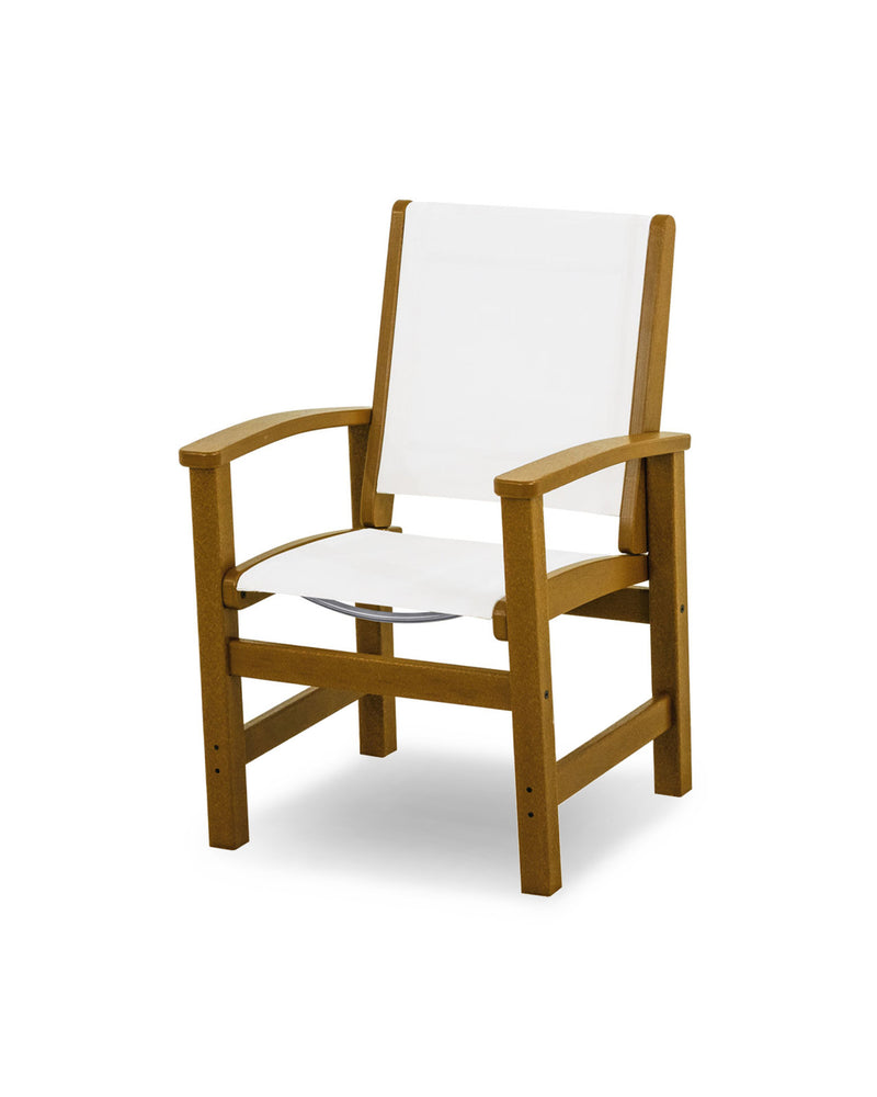 9010-TE901 Coastal Dining Chair in Teak with a White Sling