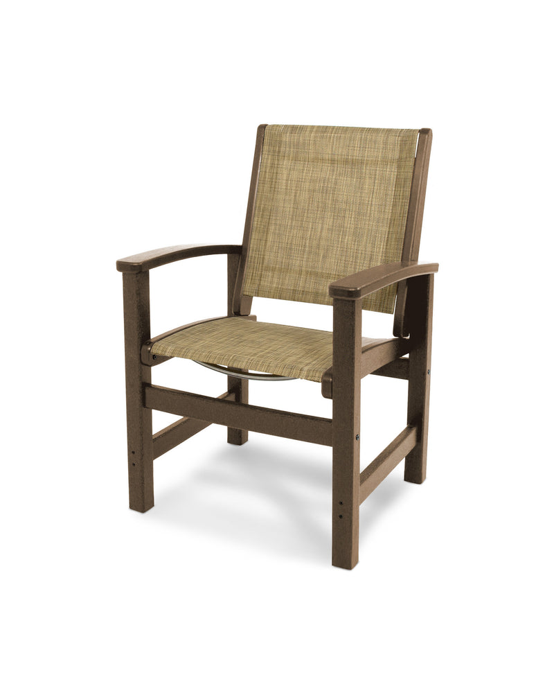 9010-TE912 Coastal Dining Chair in Teak with a Burlap Sling