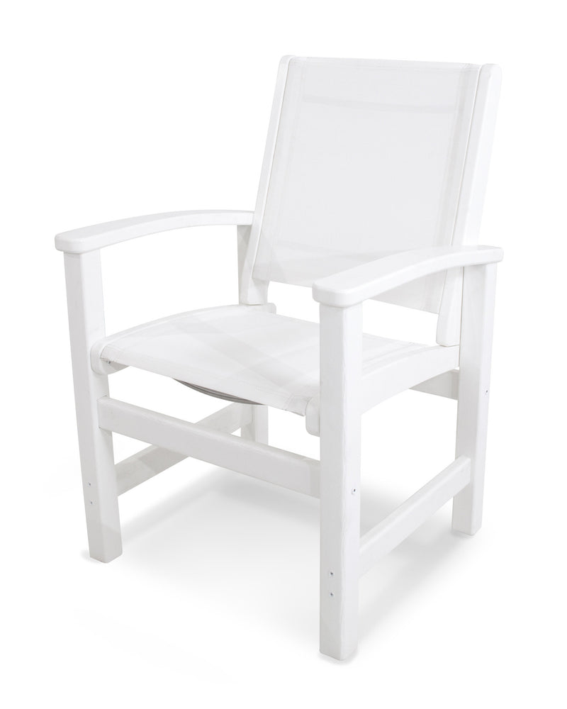 9010-WH901 Coastal Dining Chair in White with a White Sling