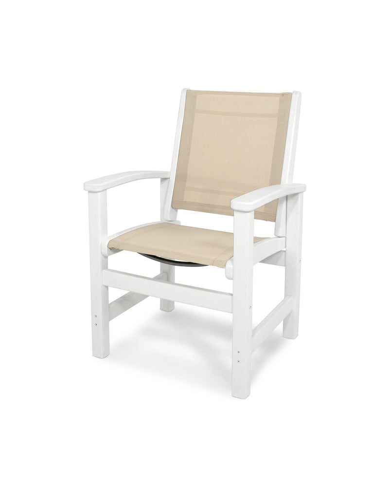 9010-WH903 Coastal Dining Chair in White with a Stucco Sling