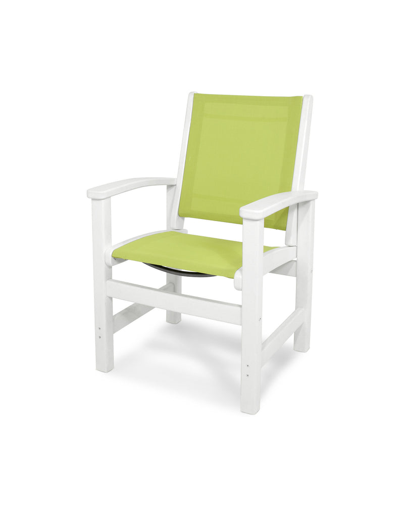 9010-WH904 Coastal Dining Chair in White with a Avocado Sling