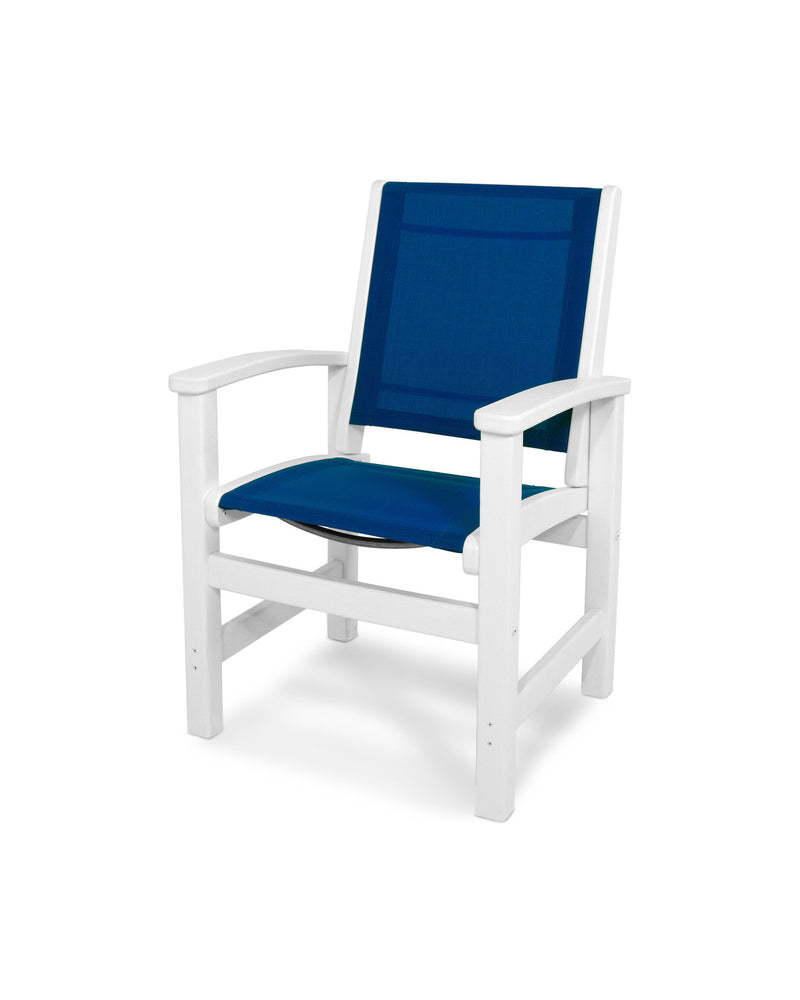9010-WH905 Coastal Dining Chair in White with a Royal Blue Sling