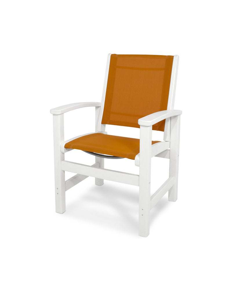9010-WH906 Coastal Dining Chair in White with a Citrus Sling