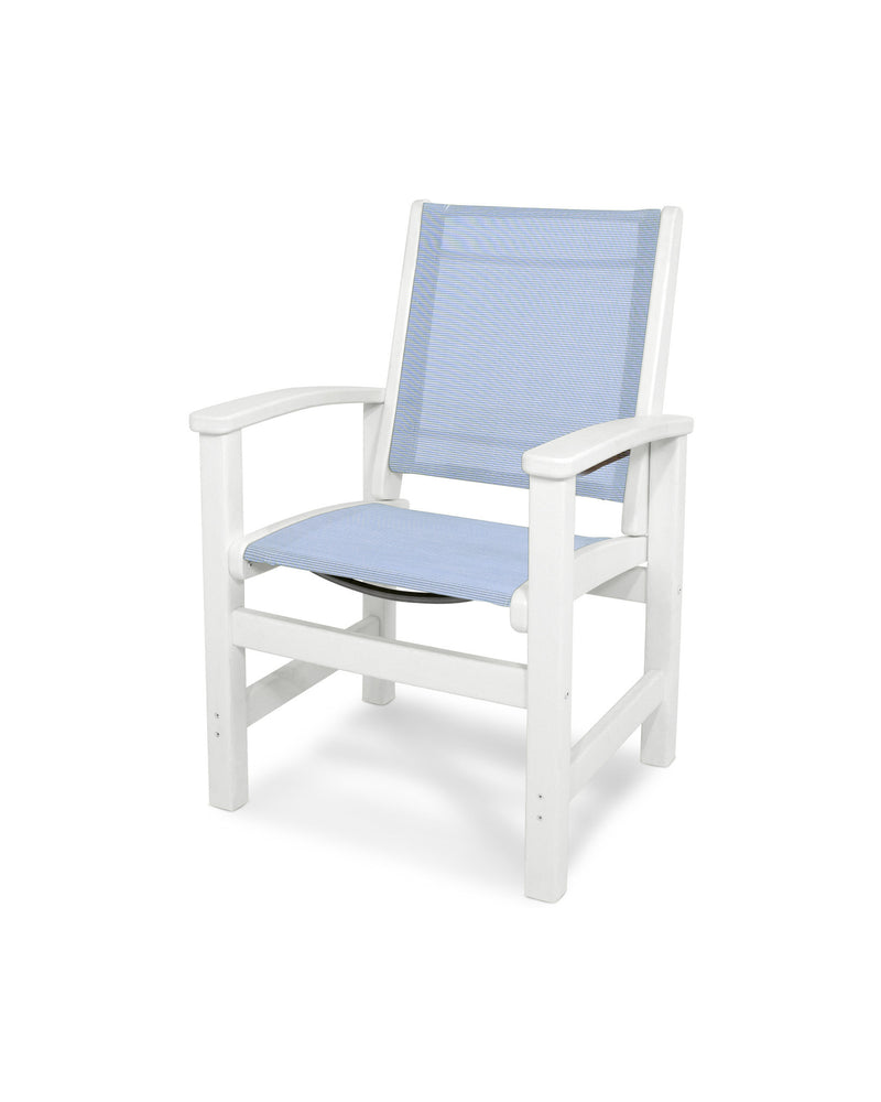 9010-WH910 Coastal Dining Chair in White with a Poolside Sling