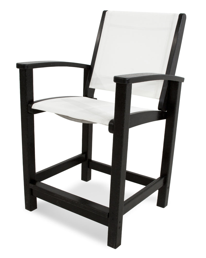 9011-BL901 Coastal Counter Chair in Black with a White Sling