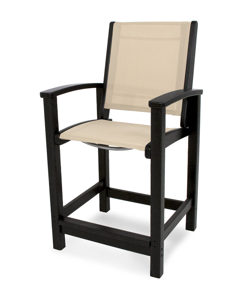 9011-BL903 Coastal Counter Chair in Black with a Stucco Sling
