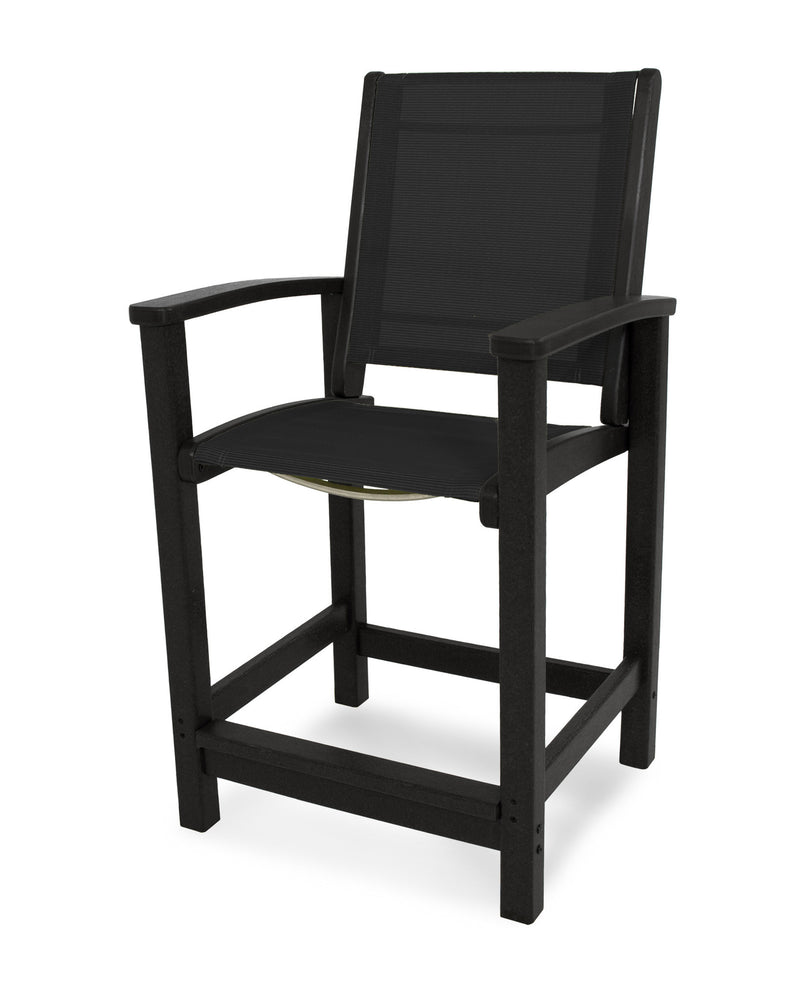 9011-BL908 Coastal Counter Chair in Black with a Black Sling
