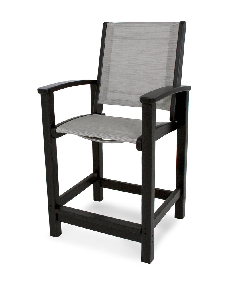 9011-BL909 Coastal Counter Chair in Black with a Metallic Sling