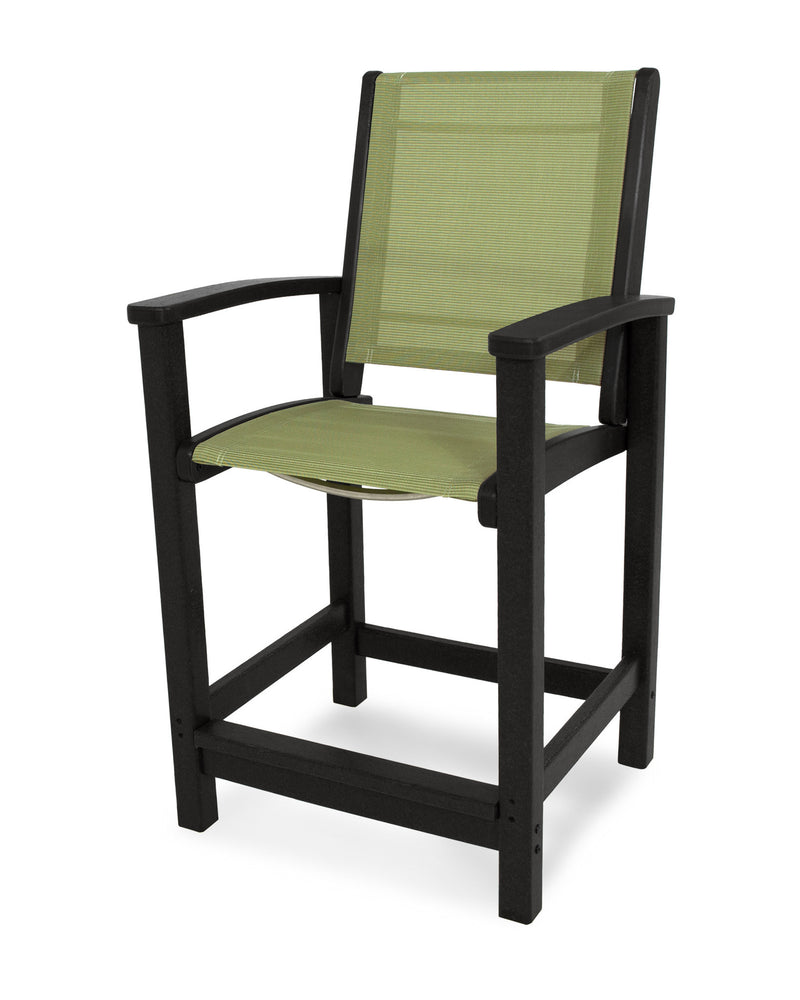 9011-BL911 Coastal Counter Chair in Black with a Kiwi Sling
