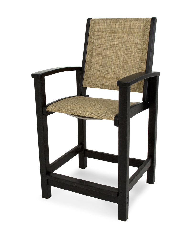 9011-BL912 Coastal Counter Chair in Black with a Burlap Sling