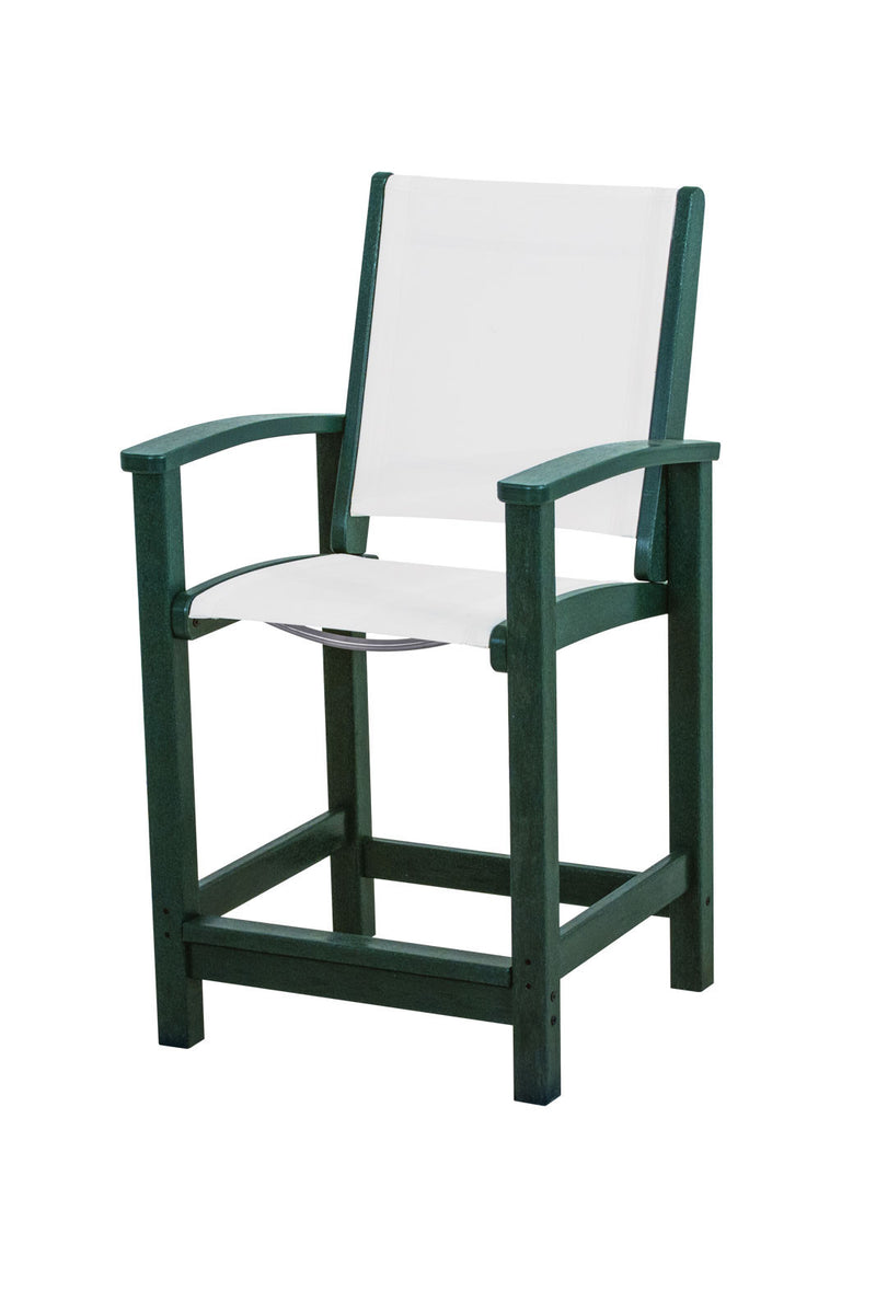 9011-GR901 Coastal Counter Chair in Green with a White Sling