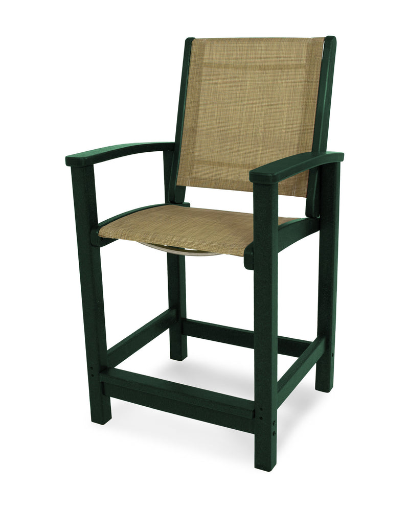 9011-GR912 Coastal Counter Chair in Green with a Burlap Sling