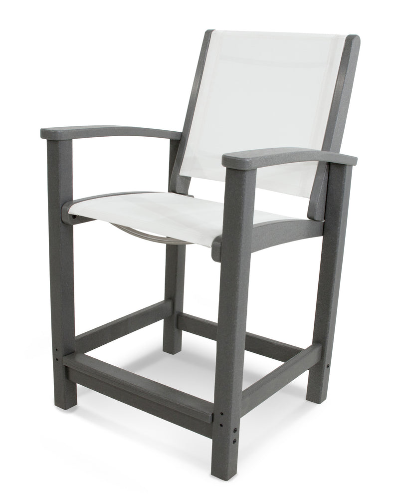 9011-GY901 Coastal Counter Chair in Slate Grey with a White Sling