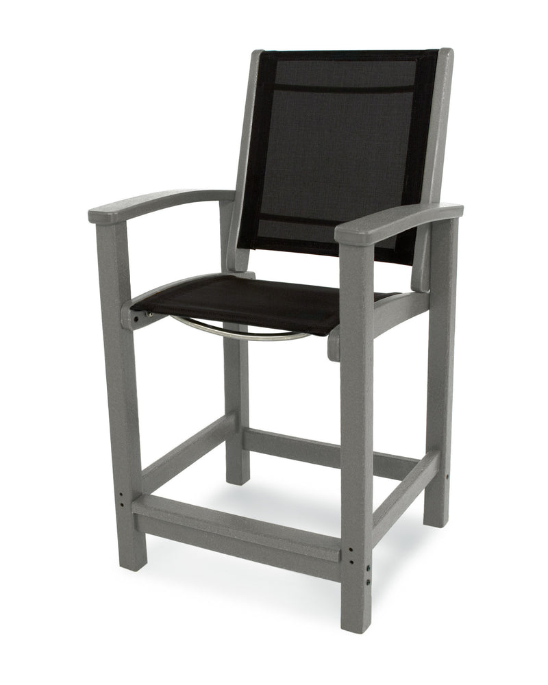 9011-GY908 Coastal Counter Chair in Slate Grey with a Black Sling