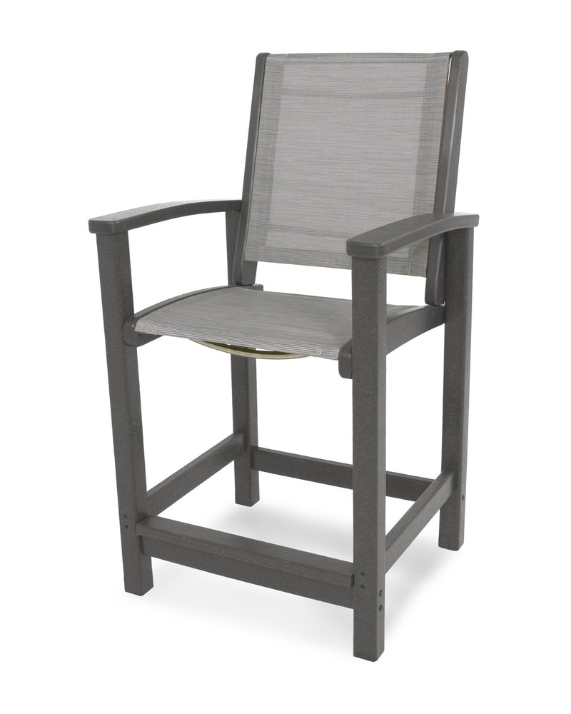 9011-GY909 Coastal Counter Chair in Slate Grey with a Metallic Sling