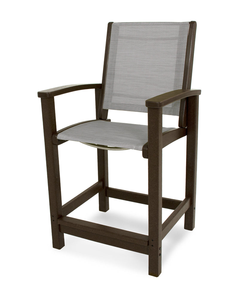 9011-MA909 Coastal Counter Chair in Mahogany with a Metallic Sling