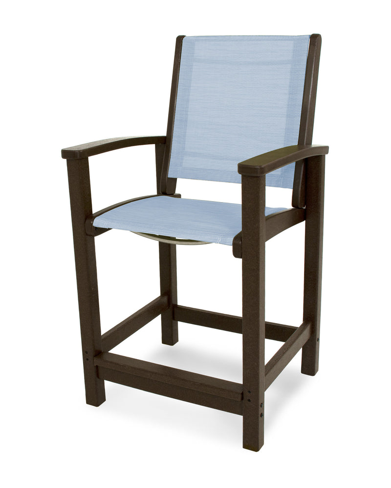 9011-MA910 Coastal Counter Chair in Mahogany with a Poolside Sling
