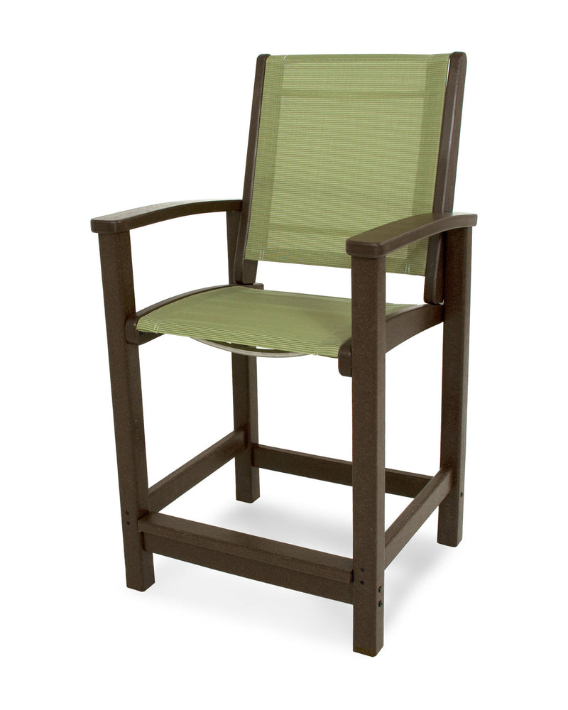 9011-MA911 Coastal Counter Chair in Mahogany with a Kiwi Sling
