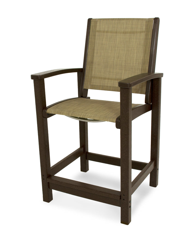 9011-MA912 Coastal Counter Chair in Mahogany with a Burlap Sling