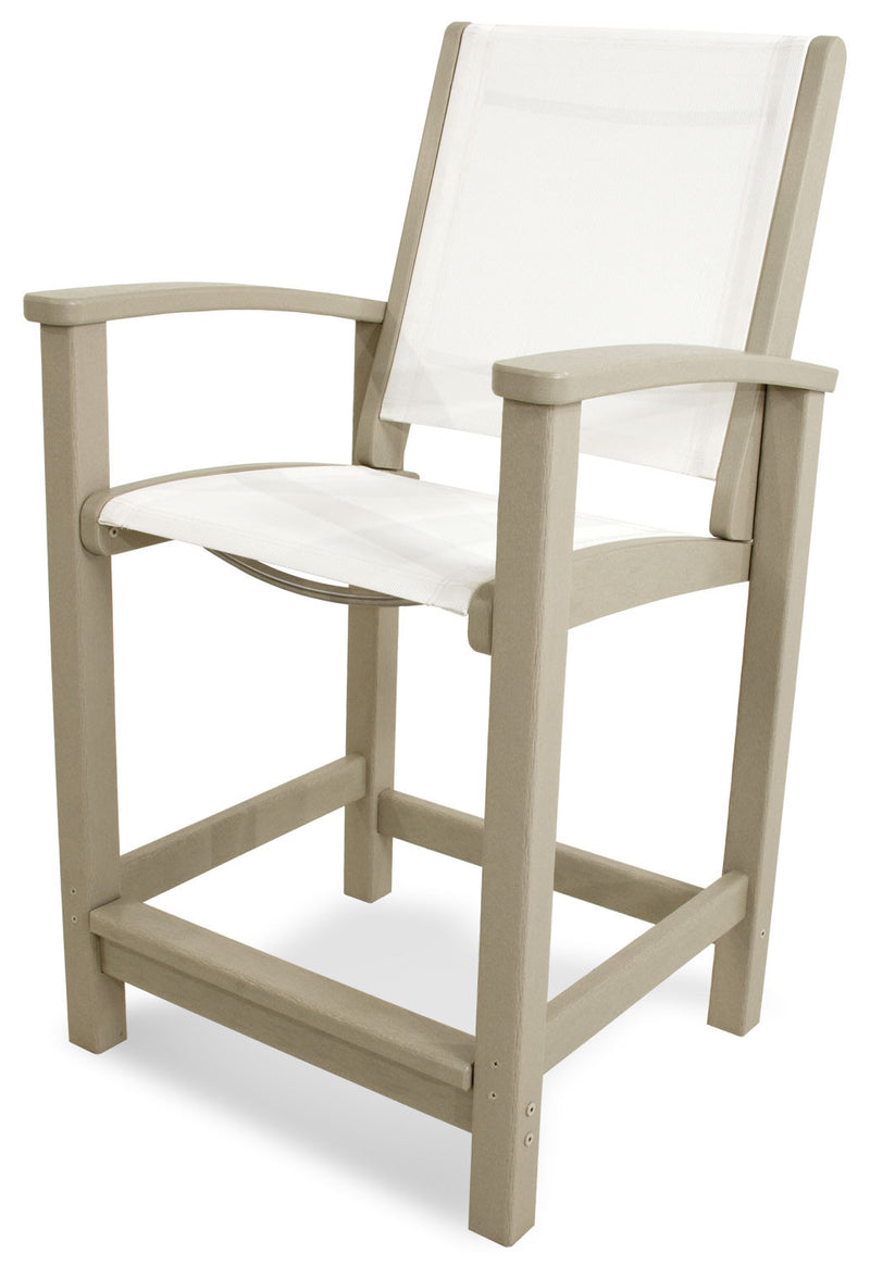 9011-SA901 Coastal Counter Chair in Sand with a White Sling