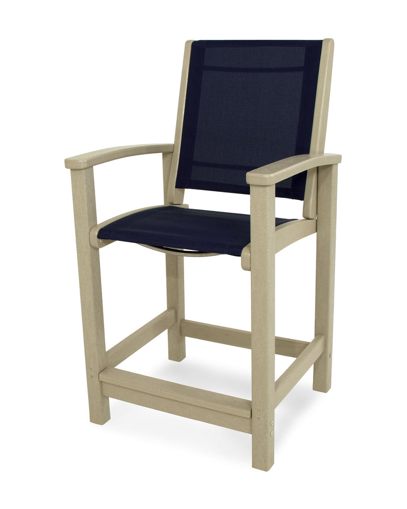 9011-SA902 Coastal Counter Chair in Sand with a Navy Blue Sling