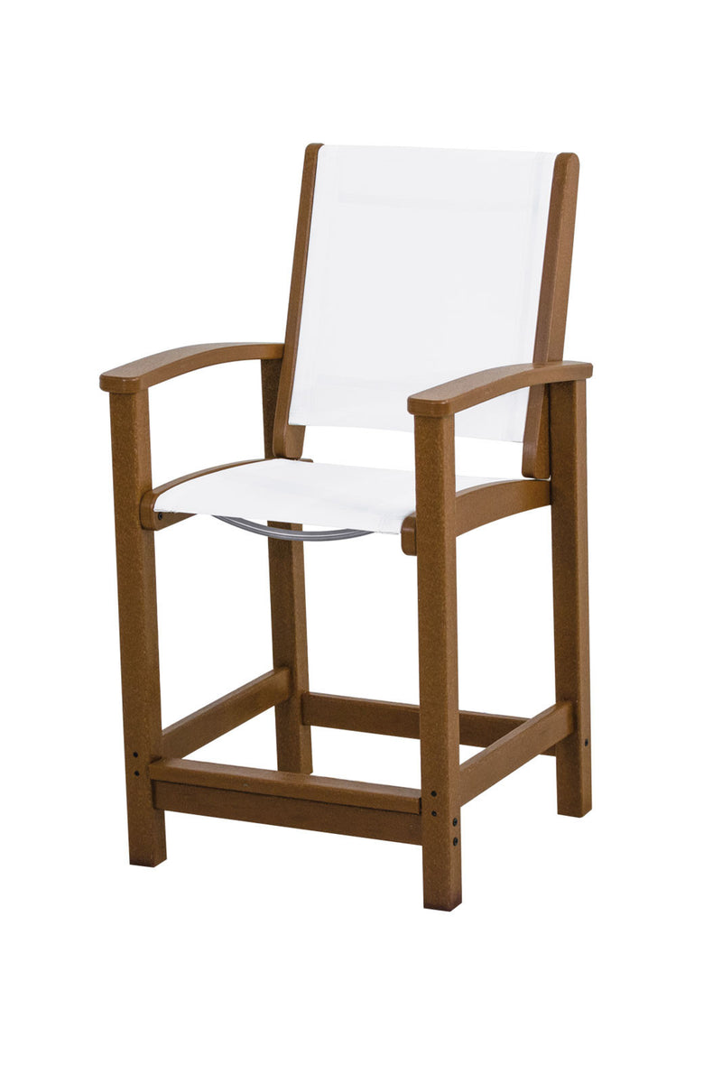 9011-TE901 Coastal Counter Chair in Teak with a White Sling