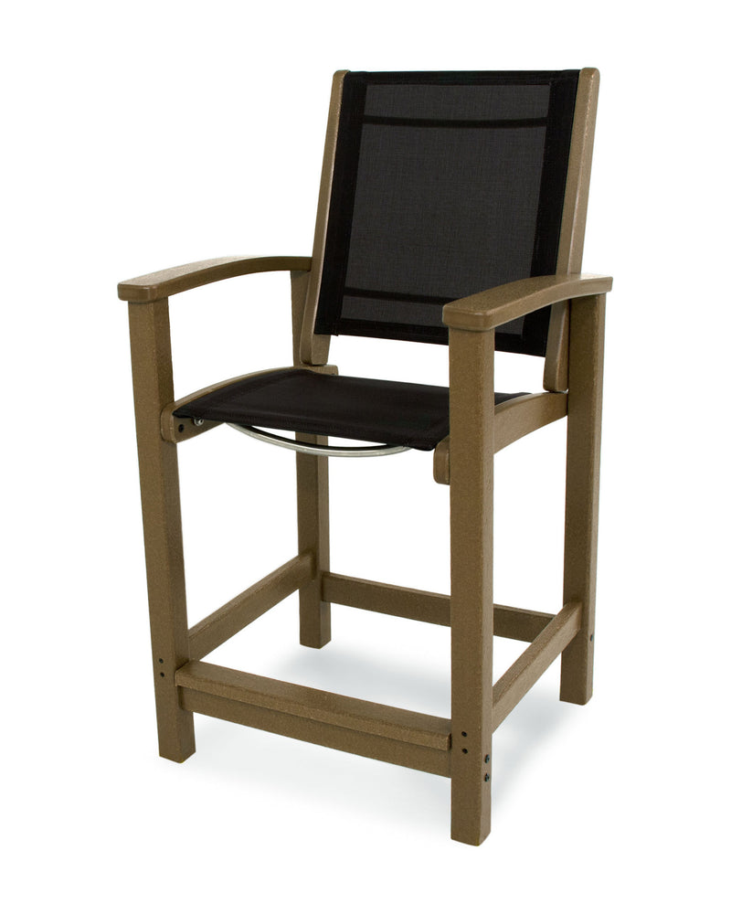 9011-TE908 Coastal Counter Chair in Teak with a Black Sling