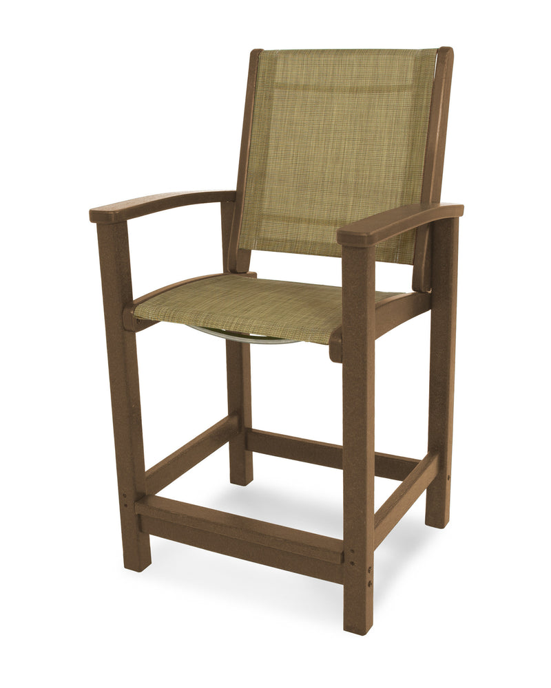 9011-TE912 Coastal Counter Chair in Teak with a Burlap Sling