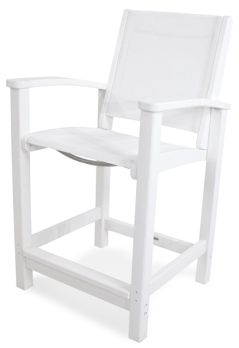 9011-WH901 Coastal Counter Chair in White with a White Sling
