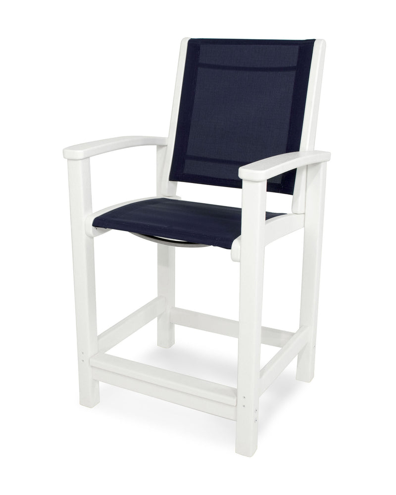 9011-WH902 Coastal Counter Chair in White with a Navy Blue Sling