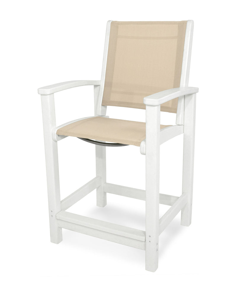 9011-WH903 Coastal Counter Chair in White with a Stucco Sling