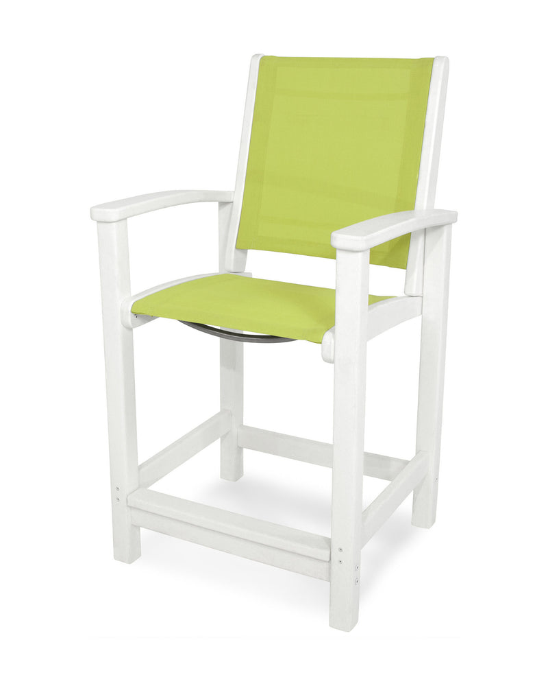 9011-WH904 Coastal Counter Chair in White with an Avocado Sling