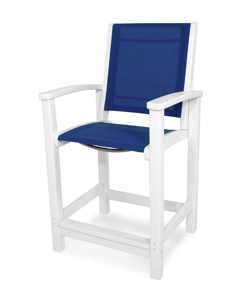 9011-WH905 Coastal Counter Chair in White with a Royal Blue Sling