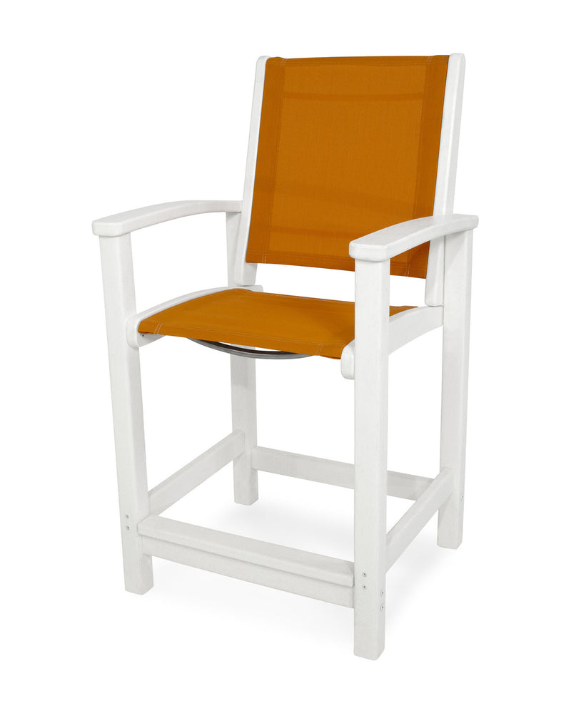 9011-WH906 Coastal Counter Chair in White with a Citrus Sling
