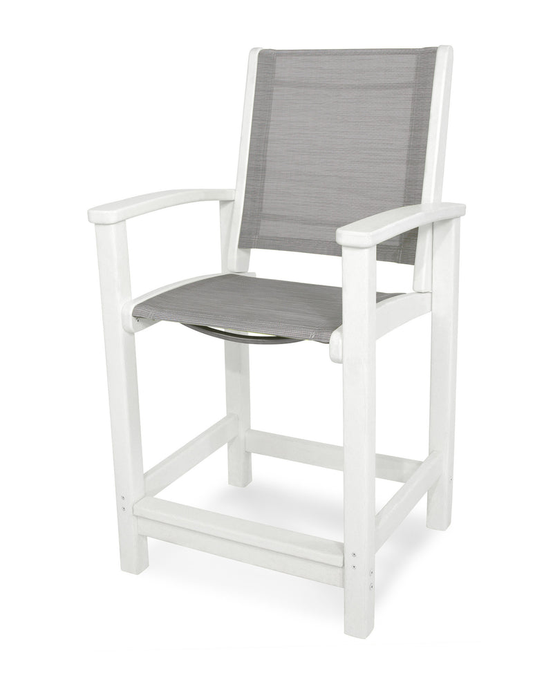 9011-WH909 Coastal Counter Chair in White with a Metallic Sling