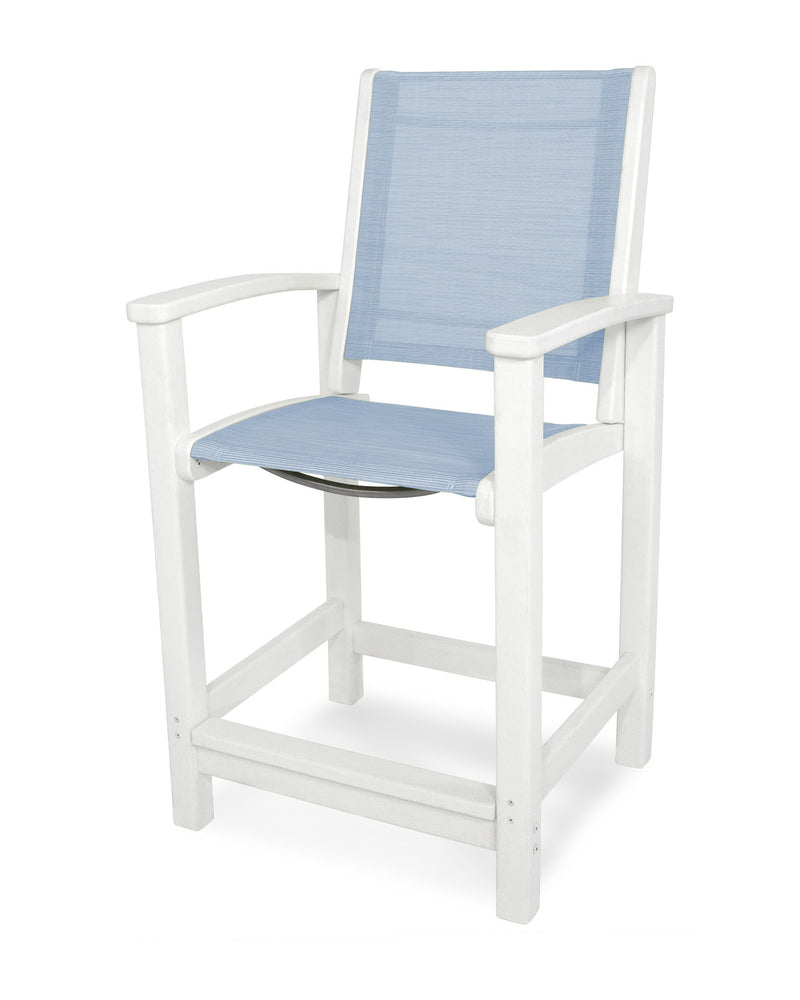 9011-WH910 Coastal Counter Chair in White with a Poolside Sling