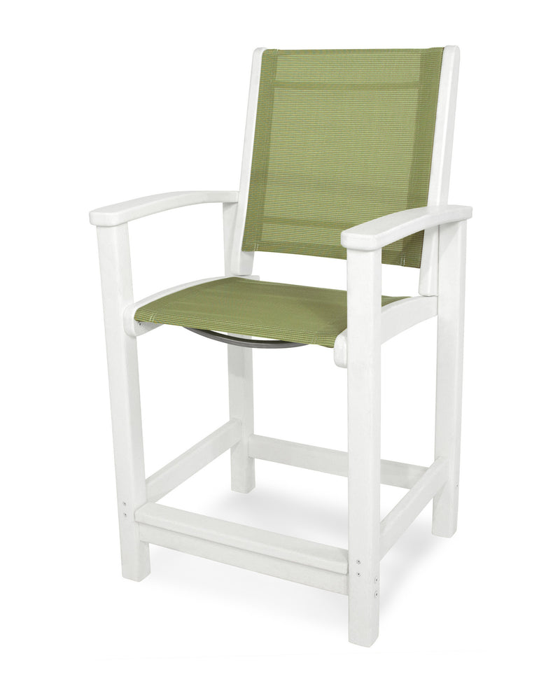 9011-WH911 Coastal Counter Chair in White with a Kiwi Sling