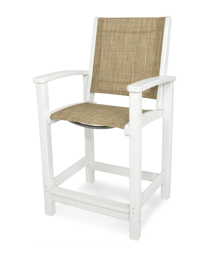 9011-WH912 Coastal Counter Chair in White with a Burlap Sling