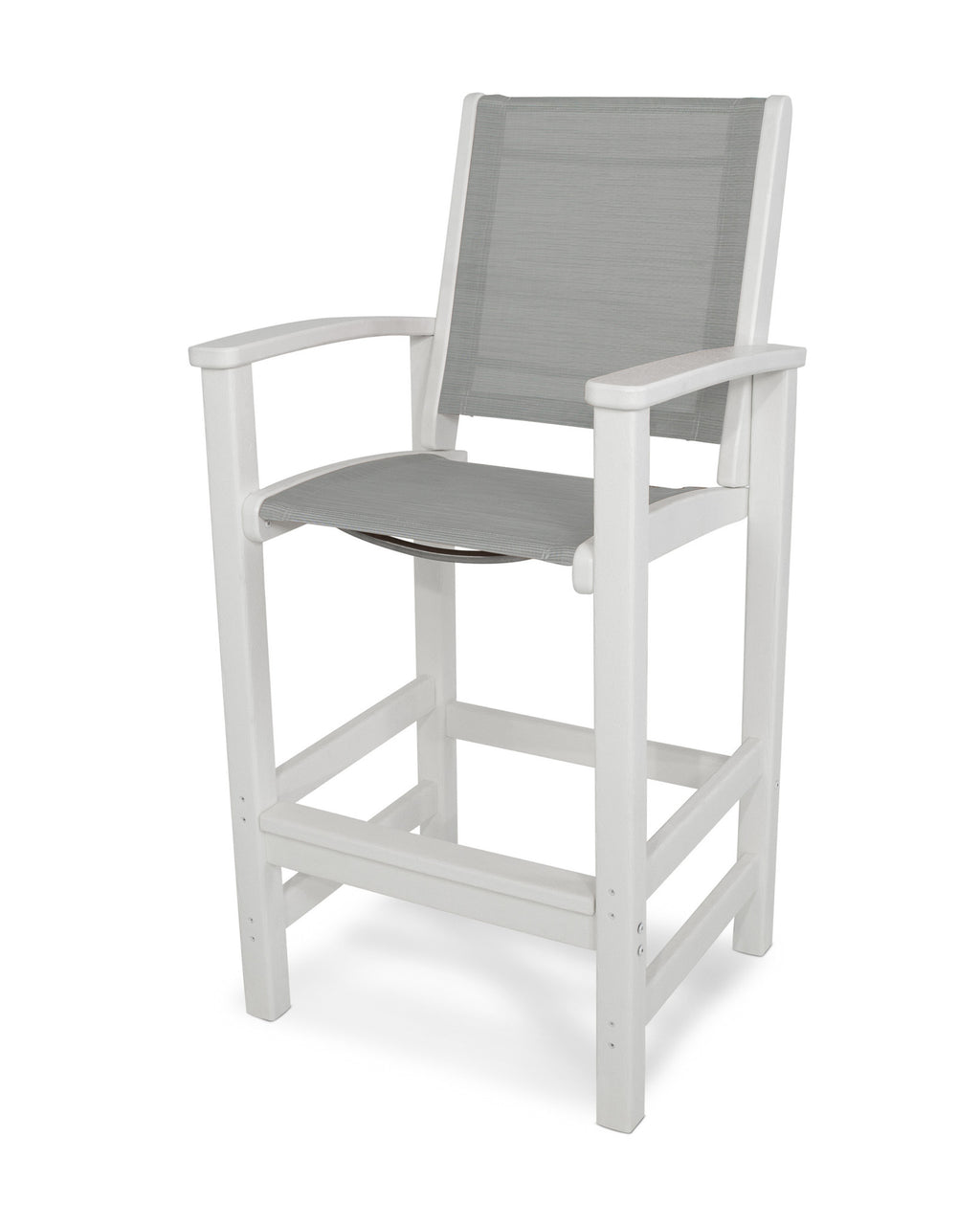 9012-WH909 Coastal Bar Chair in White with a Metallic Sling