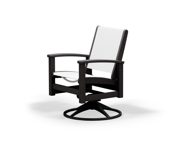 9030-12BL901 Coastal Swivel Rocker in Textured Black and Black with a White Sling