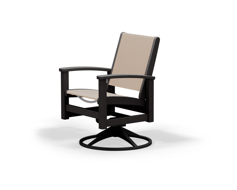 9030-12BL903 Coastal Swivel Rocker in Textured Black and Black with a Stucco Sling