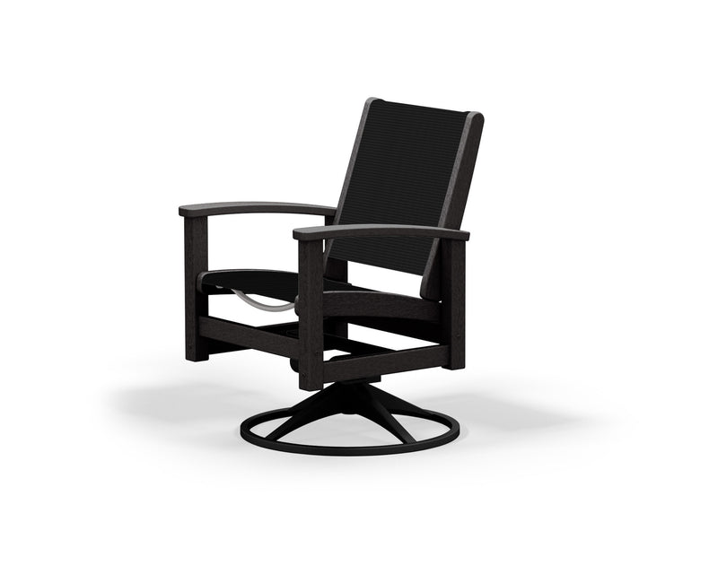 9030-12BL908 Coastal Swivel Rocker in Textured Black and Black with a Black Sling