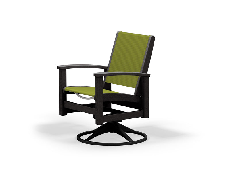 9030-12BL911 Coastal Swivel Rocker in Textured Black and Black with a Kiwi Sling