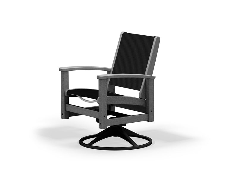 9030-12GY908 Coastal Swivel Rocker in Textured Black and Slate Grey with a Black Sling