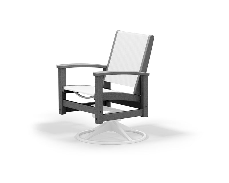 9030-13GY901 Coastal Swivel Rocker in Satin White and Slate Grey with a White Sling