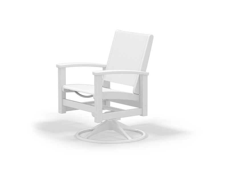 9030-13WH901 Coastal Swivel Rocker in Satin White and White with a White Sling