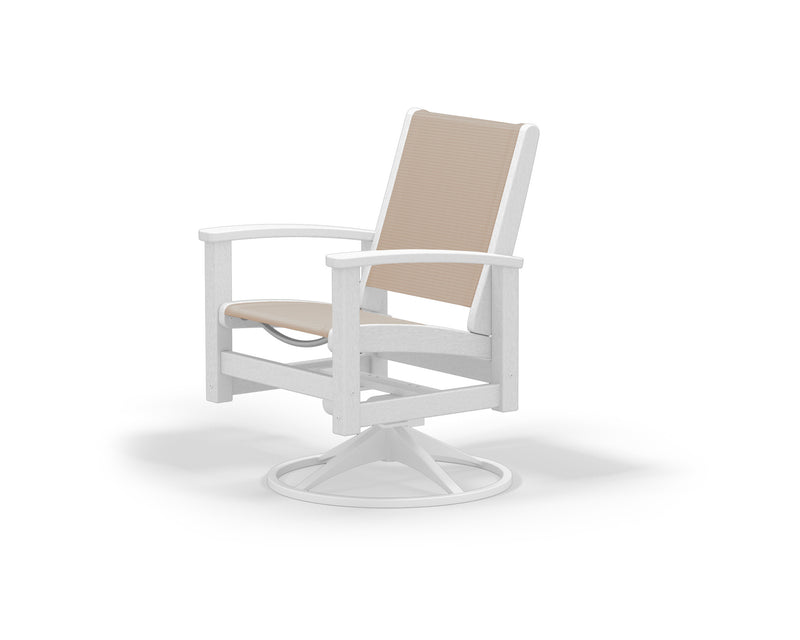 9030-13WH903 Coastal Swivel Rocker in Satin White and White with a Stucco Sling